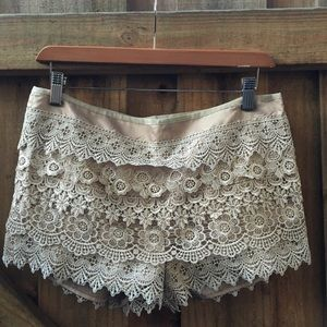 Lace Crochet Layered High Waisted Shorts